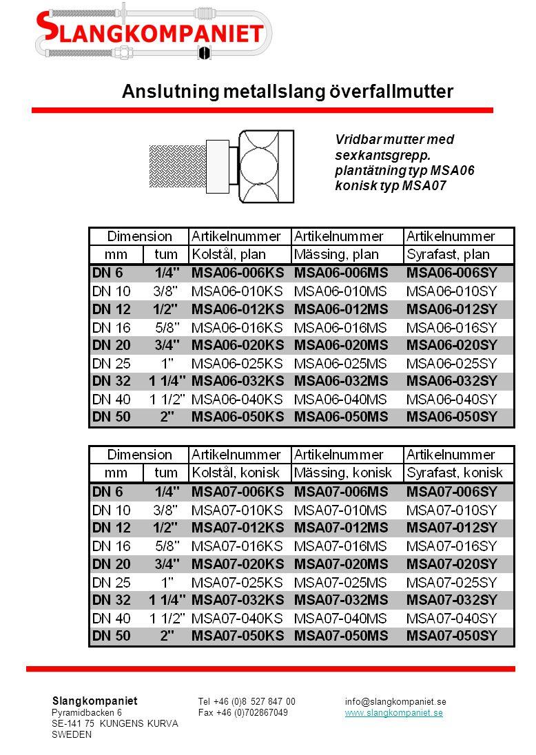 Anslutning metallslang överfallmutter Vridbar mutter med sexkantsgrepp. plantätning typ MSA06 konisk typ MSA07 Slangkompaniet Tel +46 (0)8 527 847 00i