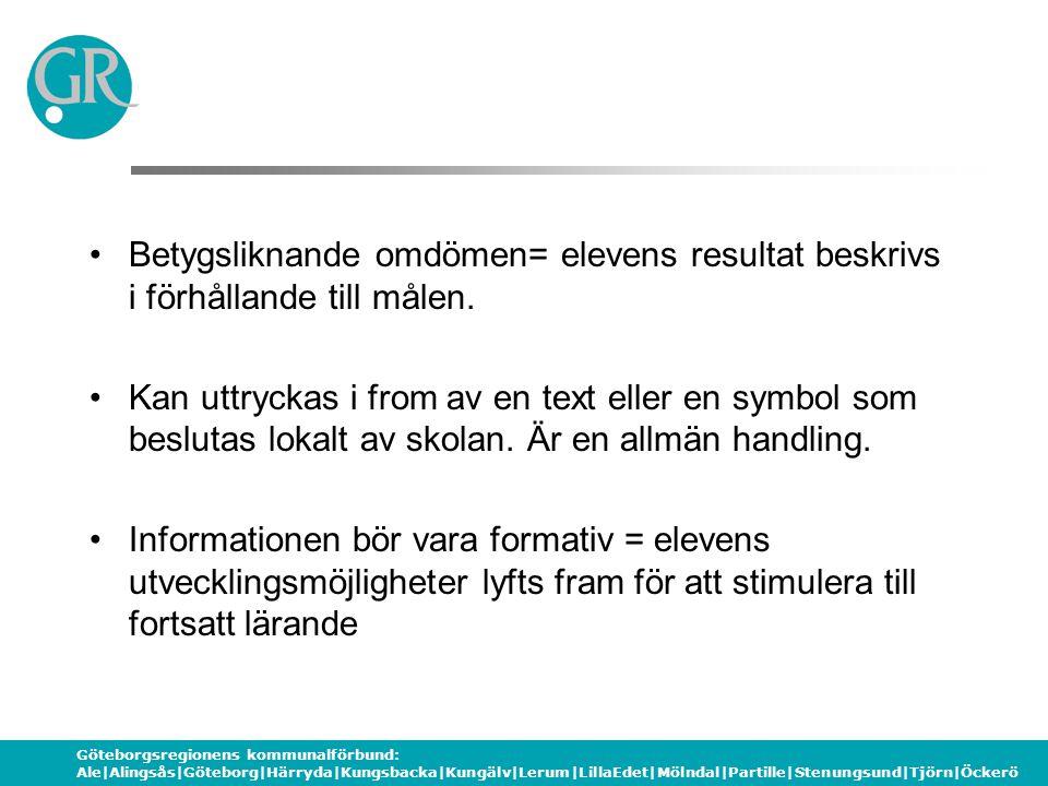 Göteborgsregionens kommunalförbund: Ale|Alingsås|Göteborg|Härryda|Kungsbacka|Kungälv|Lerum|LillaEdet|Mölndal|Partille|Stenungsund|Tjörn|Öckerö Betygsliknande omdömen= elevens resultat beskrivs i förhållande till målen.