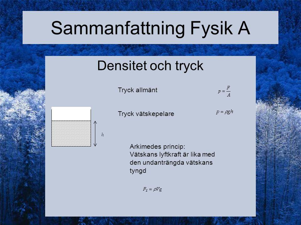 Sammanfattning Fysik A Densitet och tryck Tryck allmänt Tryck vätskepelare Arkimedes princip: Vätskans lyftkraft är lika med den undanträngda vätskans