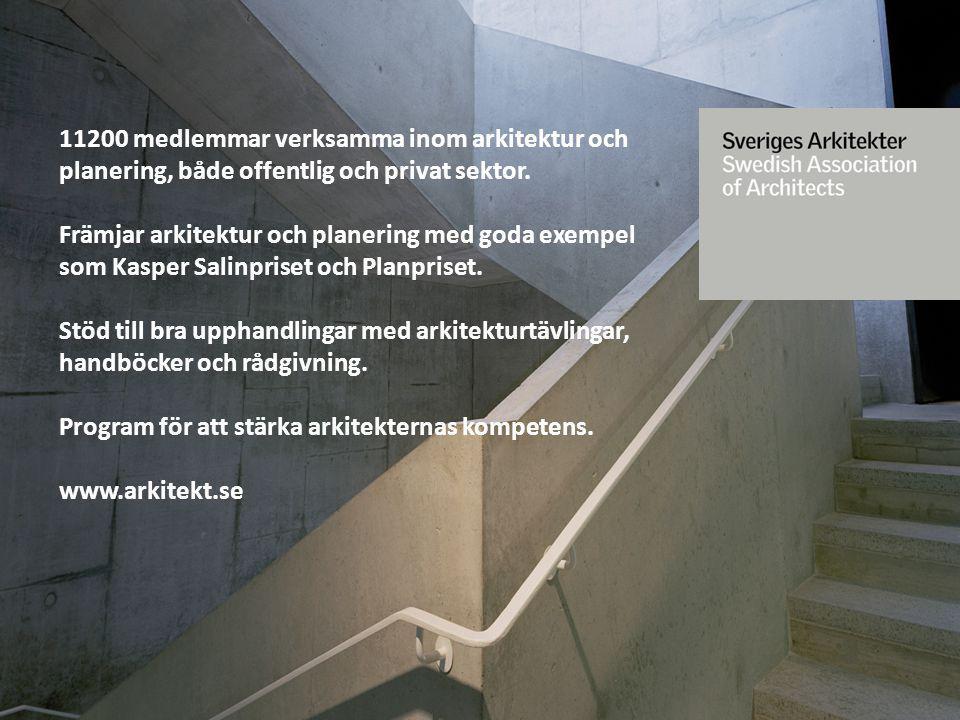 11200 medlemmar verksamma inom arkitektur och planering, både offentlig och privat sektor.