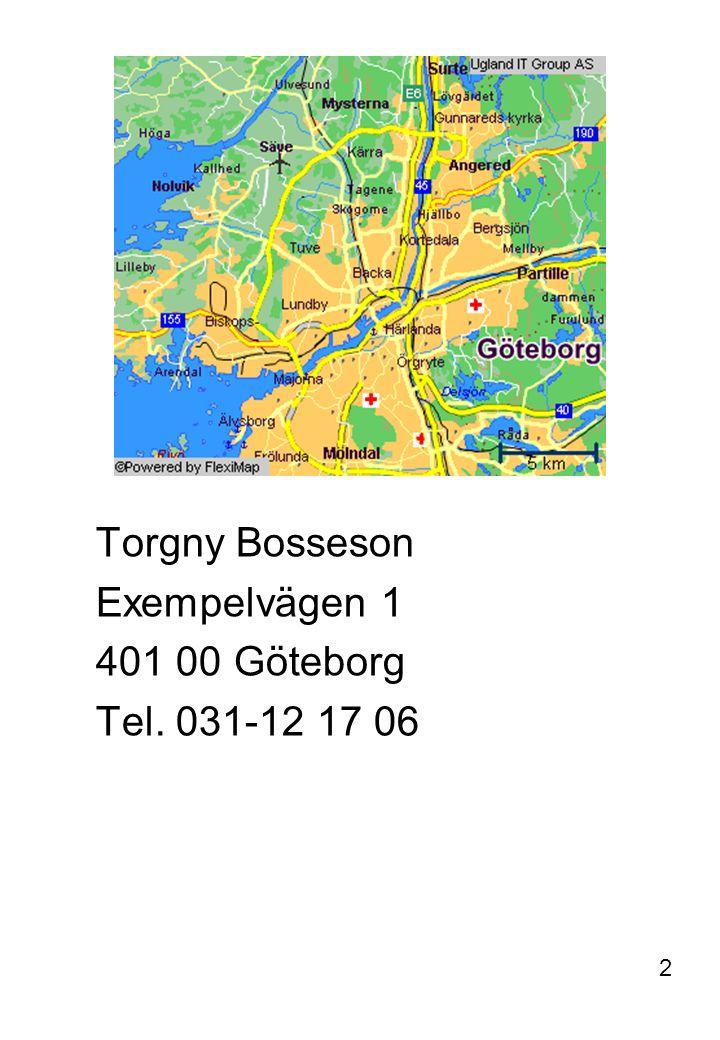 Torgny Bosseson Exempelvägen 1 401 00 Göteborg Tel. 031-12 17 06 2