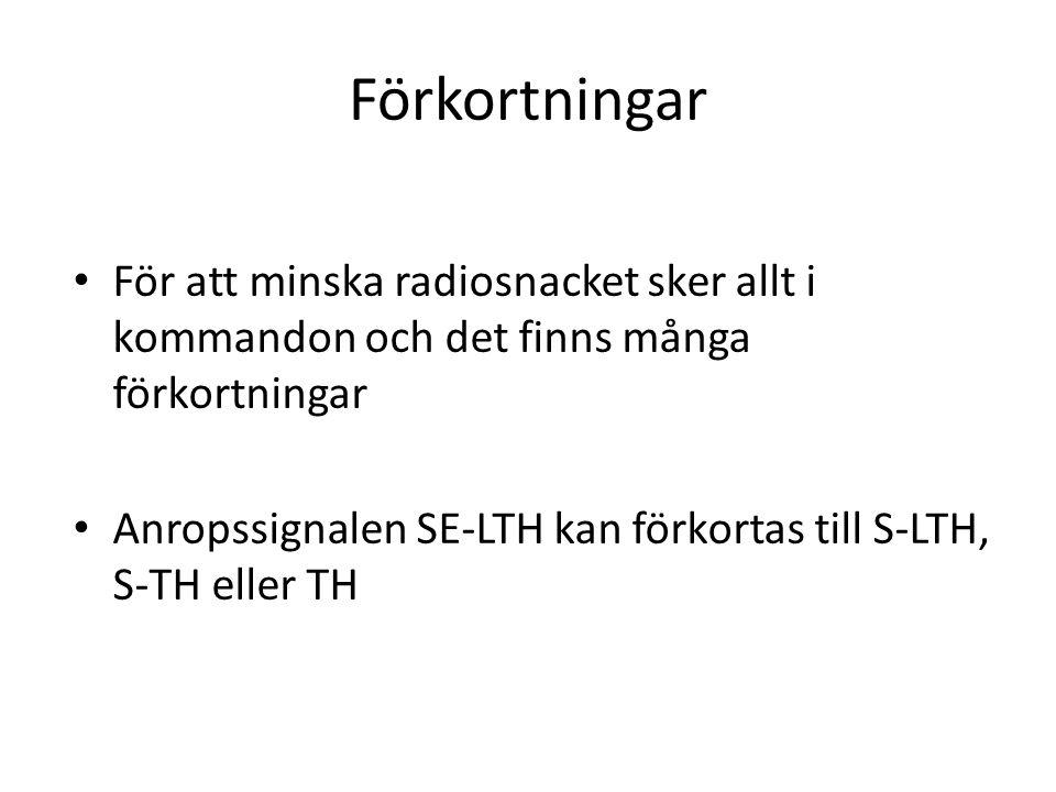Vad säger man? Alla svenska flygplan heter något med SE-XXX För att veta vem det är som pratar i radion säger man SE-LTH och sedan det man önskar säga