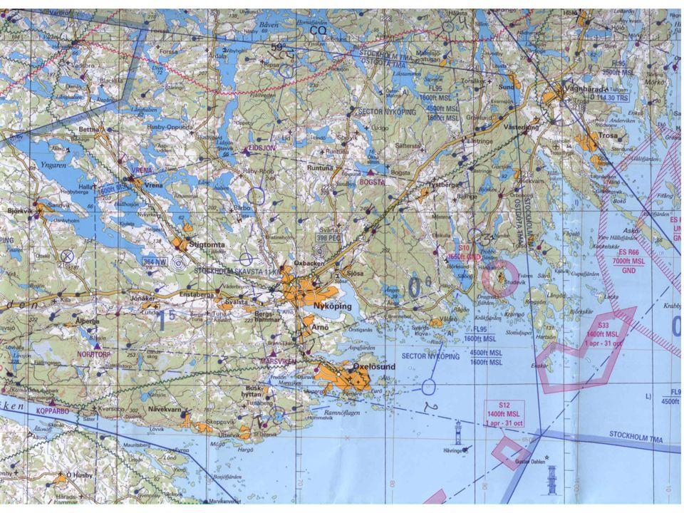 Symboler Master Inpasseringspunkter Kontrollerat område Flygfält Fyrar Siffror (indikerar t.ex.) vilken höjd marken ligger överhavet)