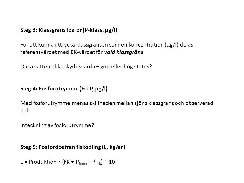 Steg 3: Klassgräns fosfor (P-klass, μg/l) För att kunna uttrycka klassgränsen som en koncentration (μg/l) delas referensvärdet med EK-värdet för vald