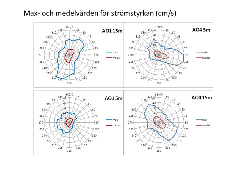 Max- och medelvärden för strömstyrkan (cm/s)