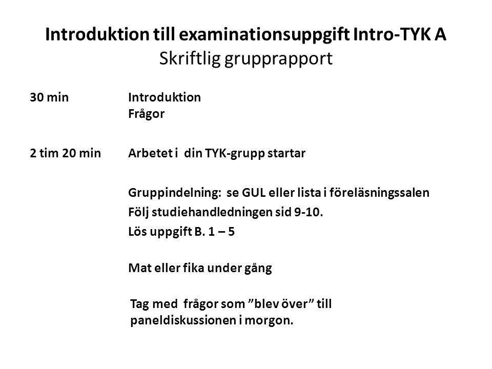 Introduktion till examinationsuppgift Intro-TYK A Skriftlig grupprapport 30 min Introduktion Frågor 2 tim 20 min Arbetet i din TYK-grupp startar Grupp