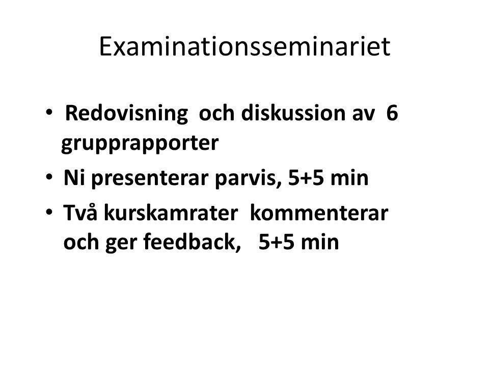 Examinationsseminariet Redovisning och diskussion av 6 grupprapporter Ni presenterar parvis, 5+5 min Två kurskamrater kommenterar och ger feedback, 5+
