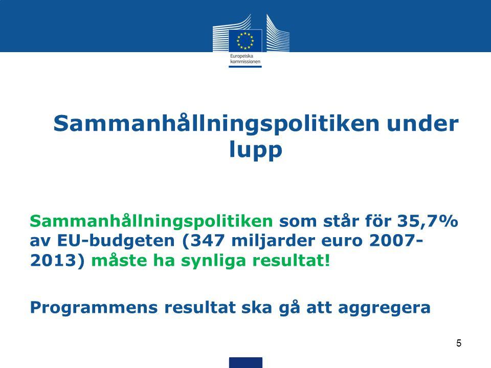 Sammanhållningspolitiken under lupp Sammanhållningspolitiken som står för 35,7% av EU-budgeten (347 miljarder euro 2007- 2013) måste ha synliga resultat.