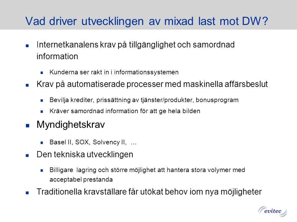 Kraven på Datawarehouse ökar Source DW DW Klassisk DW last DW med blandad last Laddas i batch 10-100 Standard rapporter Fåtal