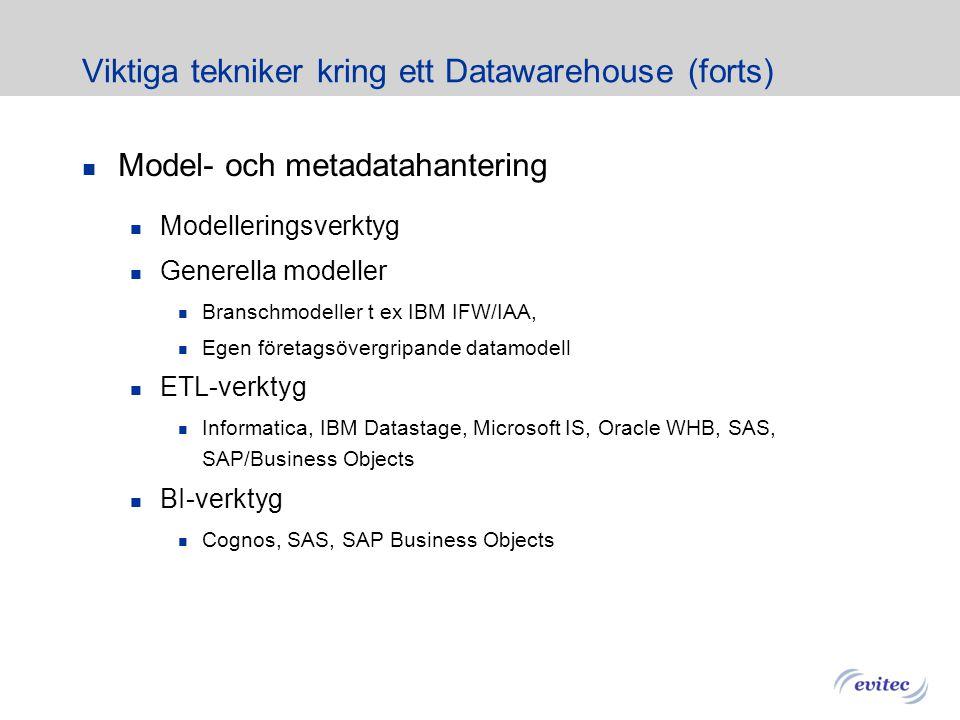 Viktiga tekniker kring ett Datawarehouse Databashanterare Traditionella Rdbms DB2, Oracle, Microsoft Special DW DBMS Teradata, Netezza, Greenplum, Dat