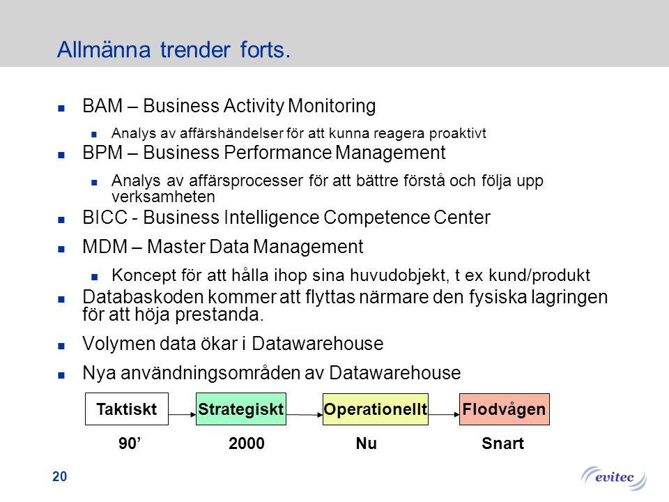 Allmänna trender Datawarehouse blir mer och mer affärskritiskt  2009 kommer 90% av alla företag ha applikationer beroende av Datawarehouse för daglig