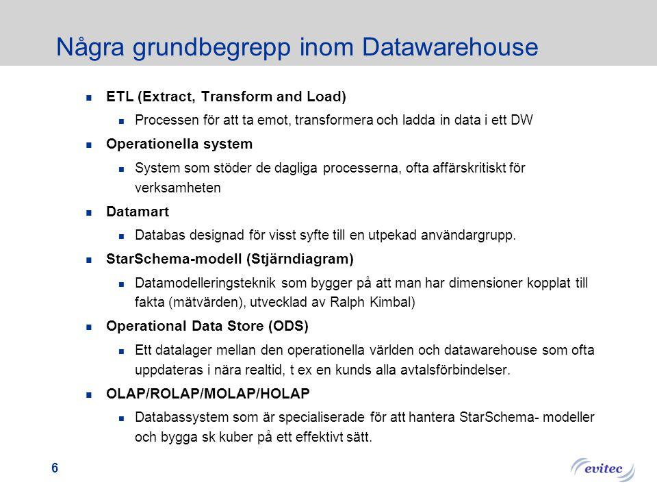 5 Försök till definition av DataWarehouse DataWarehouse är en infrastrukturkomponent för att hantera historisk Information, som senare kan användas i
