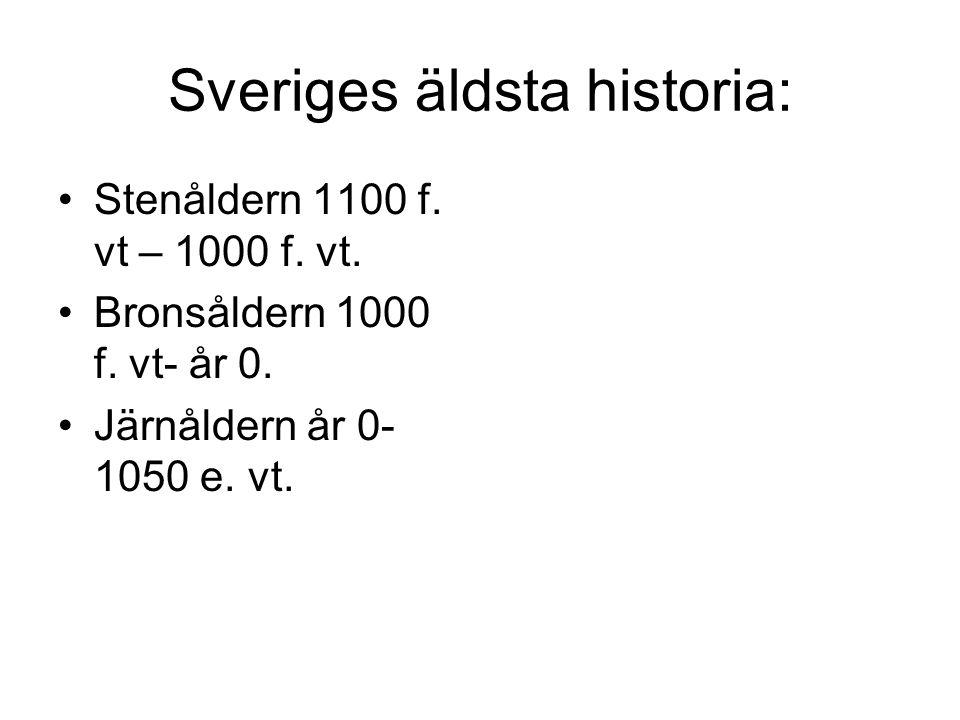 Sveriges äldsta historia: Stenåldern 1100 f. vt – 1000 f. vt. Bronsåldern 1000 f. vt- år 0. Järnåldern år 0- 1050 e. vt.