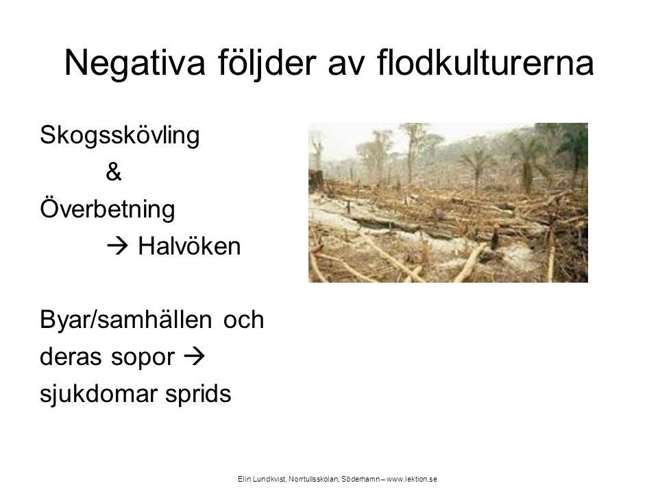 Negativa följder av flodkulturerna Skogsskövling & Överbetning  Halvöken Byar/samhällen och deras sopor  sjukdomar sprids Elin Lundkvist, Norrtullss