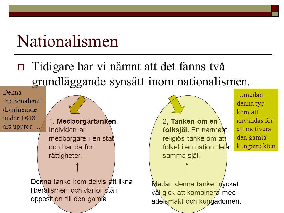 Nationalismen  Tidigare har vi nämnt att det fanns två grundläggande synsätt inom nationalismen. 1. Medborgartanken. Individen är medborgare i en sta