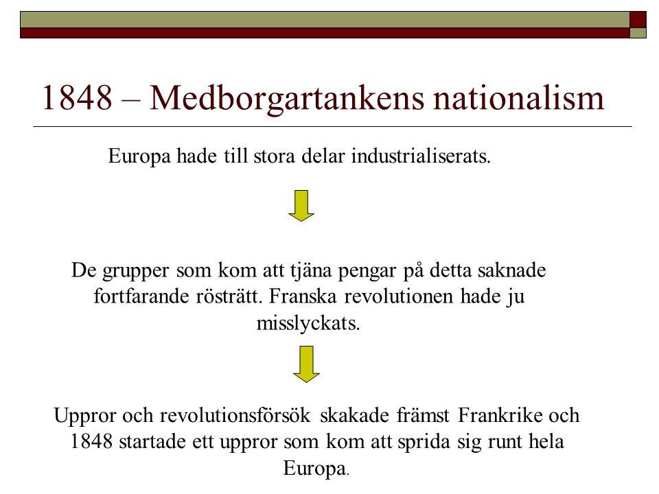 1848 – Medborgartankens nationalism Europa hade till stora delar industrialiserats. De grupper som kom att tjäna pengar på detta saknade fortfarande r