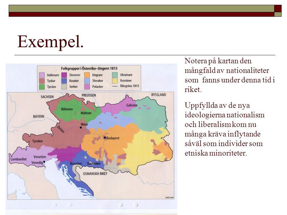 Exempel. Notera på kartan den mångfald av nationaliteter som fanns under denna tid i riket. Uppfyllda av de nya ideologierna nationalism och liberalis