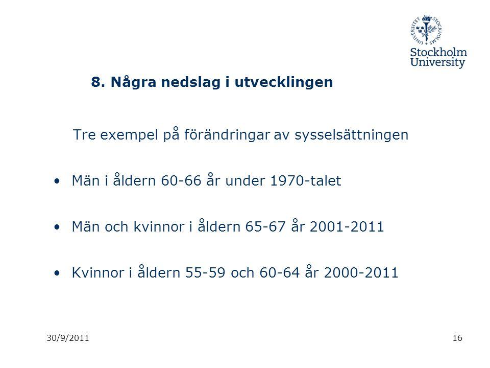 8. Några nedslag i utvecklingen Tre exempel på förändringar av sysselsättningen Män i åldern 60-66 år under 1970-talet Män och kvinnor i åldern 65-67