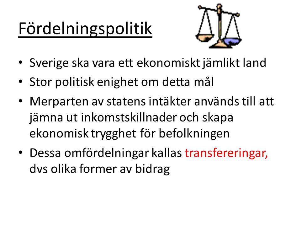 Fördelningspolitik Sverige ska vara ett ekonomiskt jämlikt land Stor politisk enighet om detta mål Merparten av statens intäkter används till att jämna ut inkomstskillnader och skapa ekonomisk trygghet för befolkningen Dessa omfördelningar kallas transfereringar, dvs olika former av bidrag