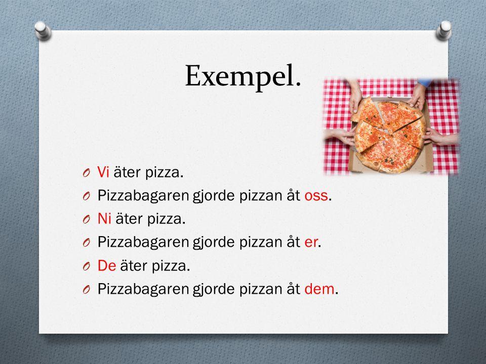 Exempel. O Vi äter pizza. O Pizzabagaren gjorde pizzan åt oss. O Ni äter pizza. O Pizzabagaren gjorde pizzan åt er. O De äter pizza. O Pizzabagaren gj