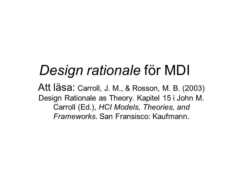 Design rationale för MDI Att läsa: Carroll, J. M., & Rosson, M. B. (2003) Design Rationale as Theory. Kapitel 15 i John M. Carroll (Ed.), HCI Models,