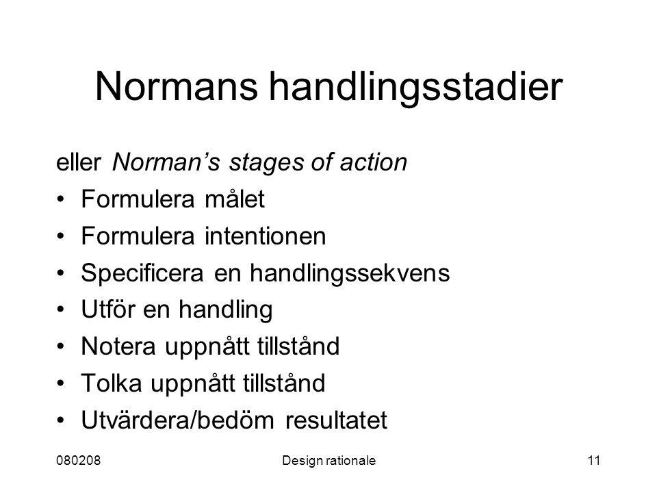 080208Design rationale11 Normans handlingsstadier eller Norman's stages of action Formulera målet Formulera intentionen Specificera en handlingssekven