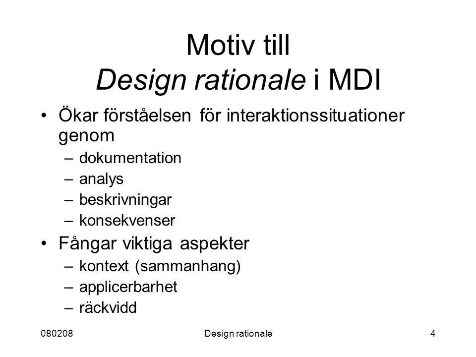 080208Design rationale4 Motiv till Design rationale i MDI Ökar förståelsen för interaktionssituationer genom –dokumentation –analys –beskrivningar –ko