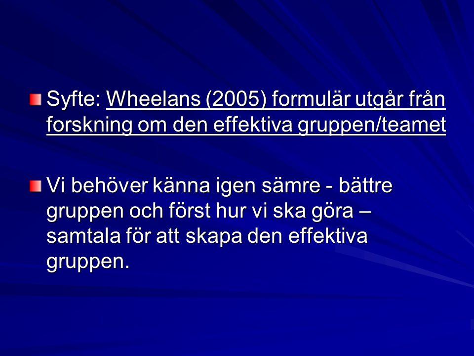 Syfte: Wheelans (2005) formulär utgår från forskning om den effektiva gruppen/teamet Vi behöver känna igen sämre - bättre gruppen och först hur vi ska