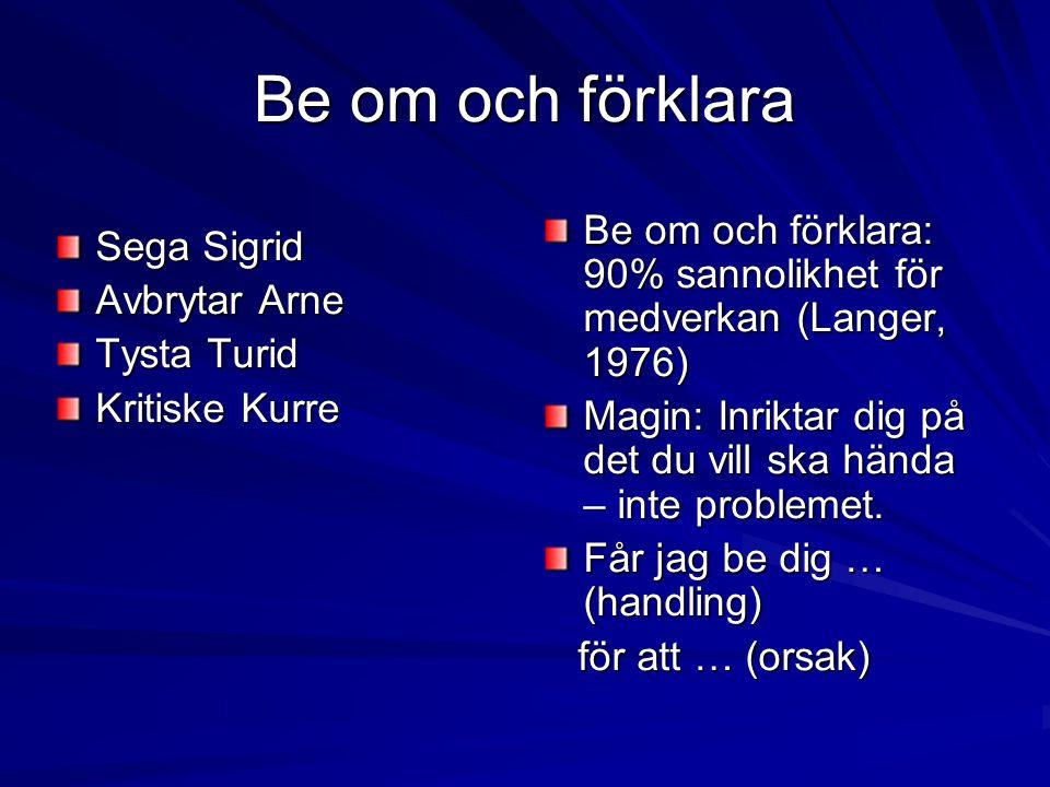 Be om och förklara Sega Sigrid Avbrytar Arne Tysta Turid Kritiske Kurre Be om och förklara: 90% sannolikhet för medverkan (Langer, 1976) Magin: Inrikt