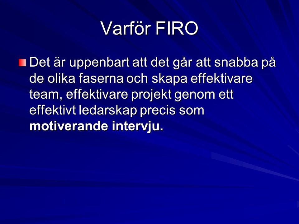 Varför FIRO Det är uppenbart att det går att snabba på de olika faserna och skapa effektivare team, effektivare projekt genom ett effektivt ledarskap