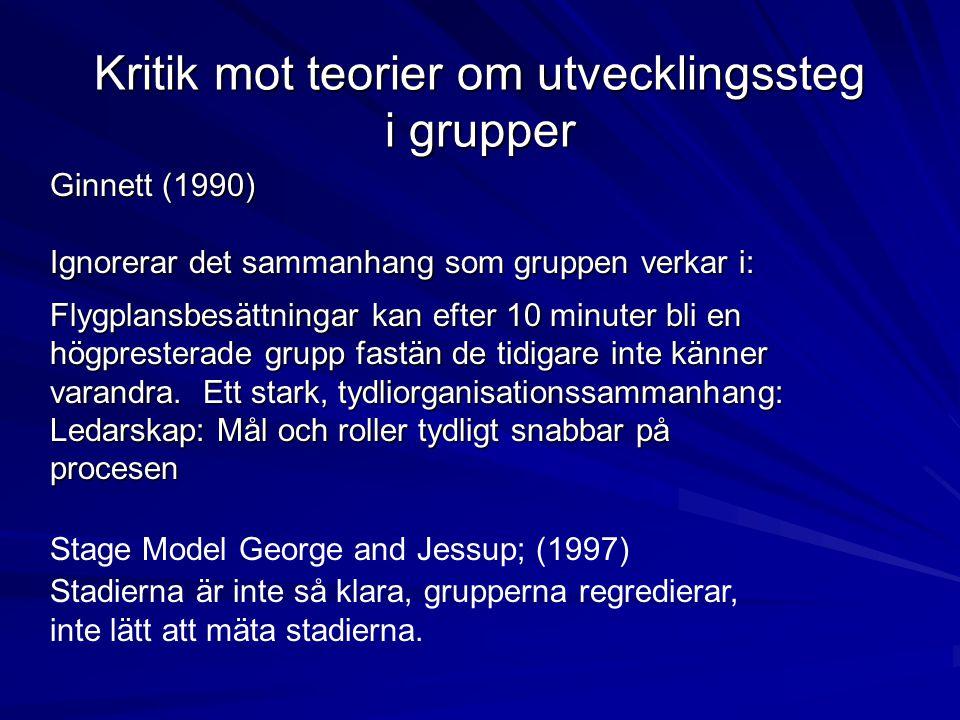 Ginnett (1990) Ignorerar det sammanhang som gruppen verkar i: Flygplansbesättningar kan efter 10 minuter bli en högpresterade grupp fastän de tidigare