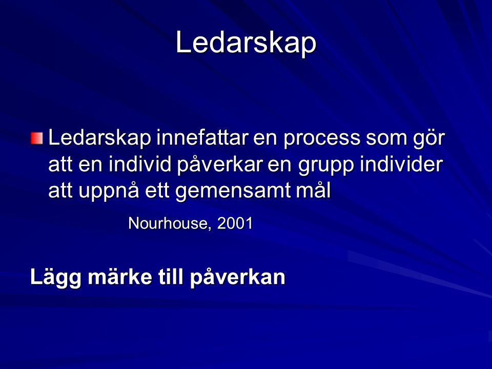 Ledarskap Ledarskap innefattar en process som gör att en individ påverkar en grupp individer att uppnå ett gemensamt mål Nourhouse, 2001 Lägg märke ti