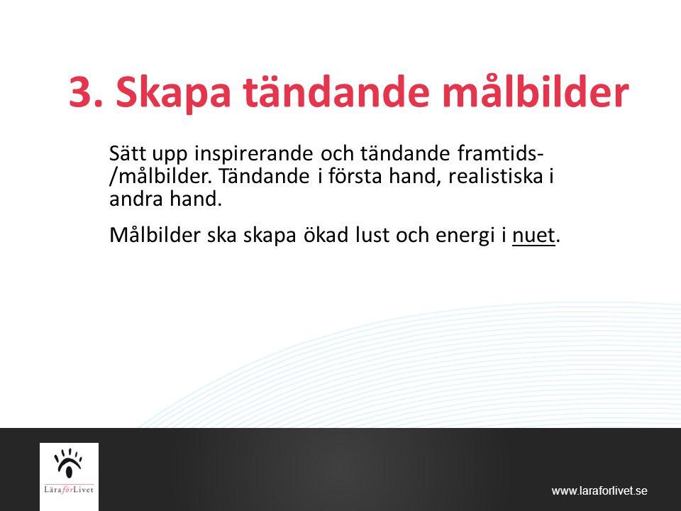 www.laraforlivet.se 3. Skapa tändande målbilder Sätt upp inspirerande och tändande framtids- /målbilder. Tändande i första hand, realistiska i andra h