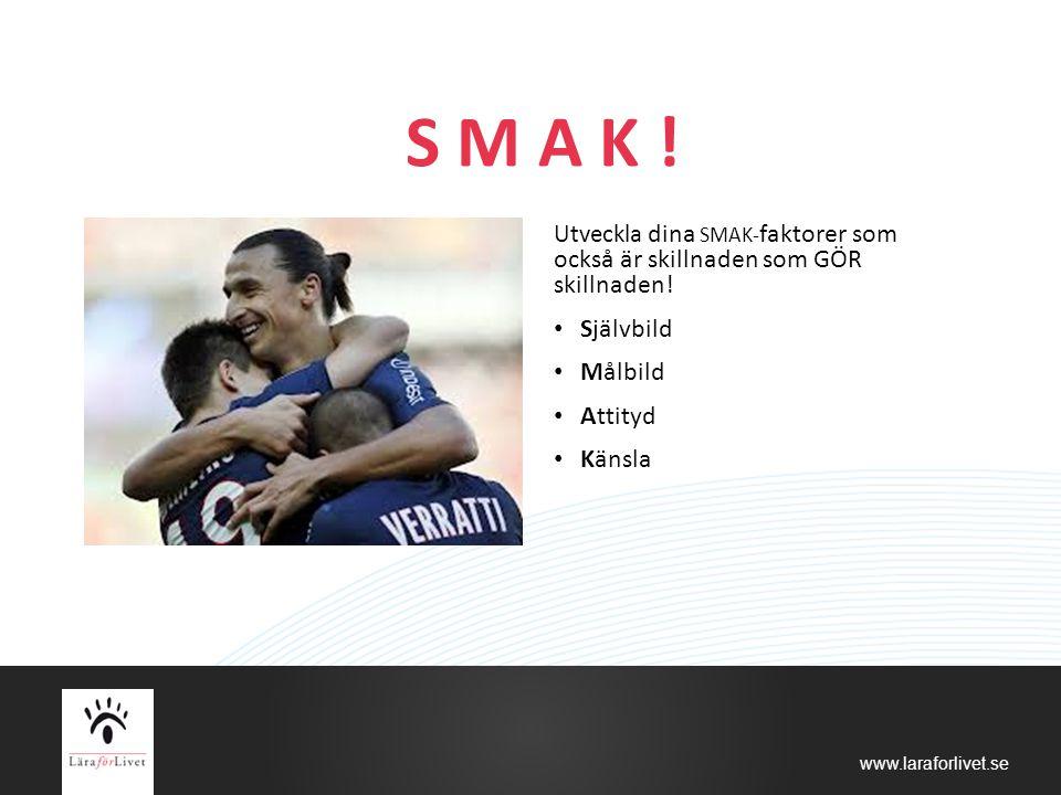www.laraforlivet.se S M A K ! Utveckla dina SMAK- faktorer som också är skillnaden som GÖR skillnaden! Självbild Målbild Attityd Känsla