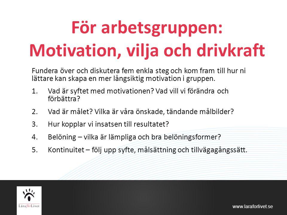 www.laraforlivet.se För arbetsgruppen: Motivation, vilja och drivkraft Fundera över och diskutera fem enkla steg och kom fram till hur ni lättare kan