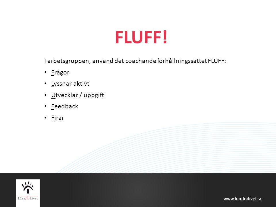 www.laraforlivet.se FLUFF! I arbetsgruppen, använd det coachande förhållningssättet FLUFF: Frågor Lyssnar aktivt Utvecklar / uppgift Feedback Firar