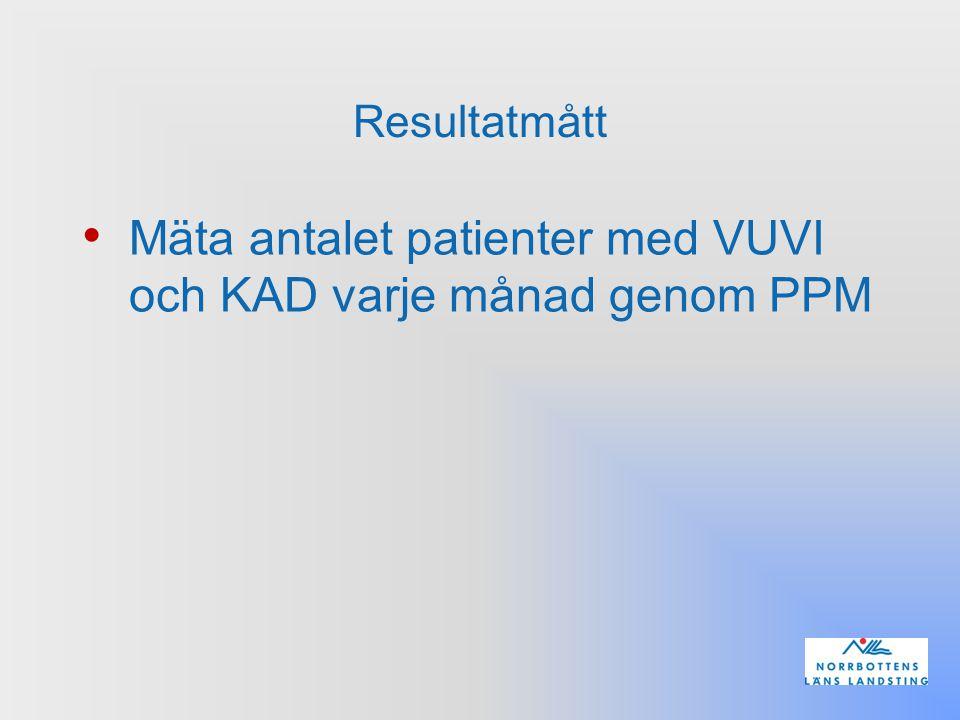 Resultatmått Mäta antalet patienter med VUVI och KAD varje månad genom PPM
