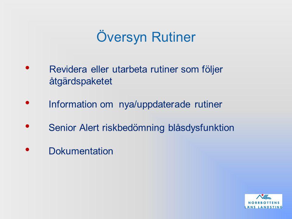 Översyn Rutiner Revidera eller utarbeta rutiner som följer åtgärdspaketet Information om nya/uppdaterade rutiner Senior Alert riskbedömning blåsdysfun