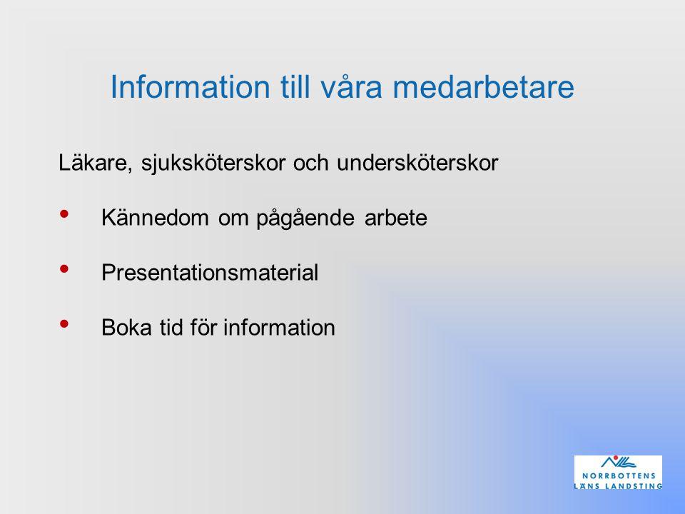 Information till våra medarbetare Läkare, sjuksköterskor och undersköterskor Kännedom om pågående arbete Presentationsmaterial Boka tid för informatio
