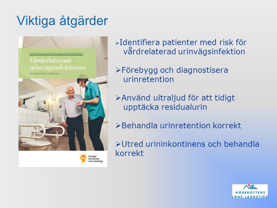 Viktiga åtgärder  Identifiera patienter med risk för vårdrelaterad urinvägsinfektion  Förebygg och diagnostisera urinretention  Använd ultraljud fö