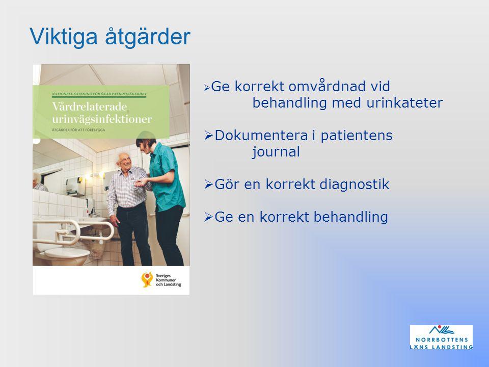Viktiga åtgärder  Ge korrekt omvårdnad vid behandling med urinkateter  Dokumentera i patientens journal  Gör en korrekt diagnostik  Ge en korrekt