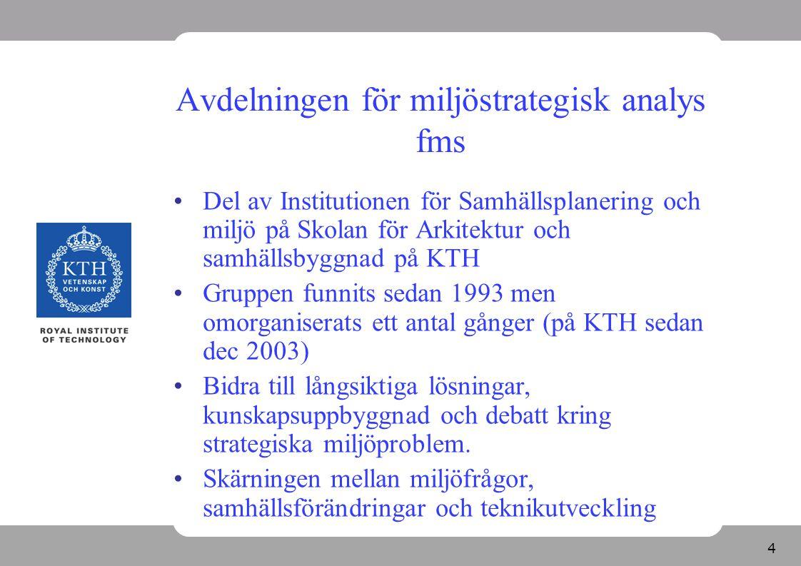 4 Avdelningen för miljöstrategisk analys fms Del av Institutionen för Samhällsplanering och miljö på Skolan för Arkitektur och samhällsbyggnad på KTH