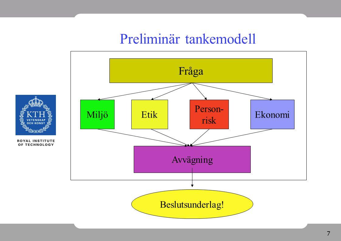 7 Preliminär tankemodell Fråga Avvägning Beslutsunderlag! MiljöEtik Person- risk Ekonomi