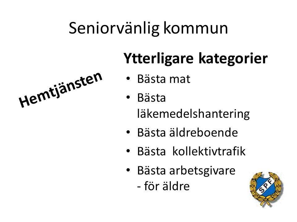 Seniorvänlig kommun Hemtjänsten Ytterligare kategorier Bästa mat Bästa läkemedelshantering Bästa äldreboende Bästa kollektivtrafik Bästa arbetsgivare