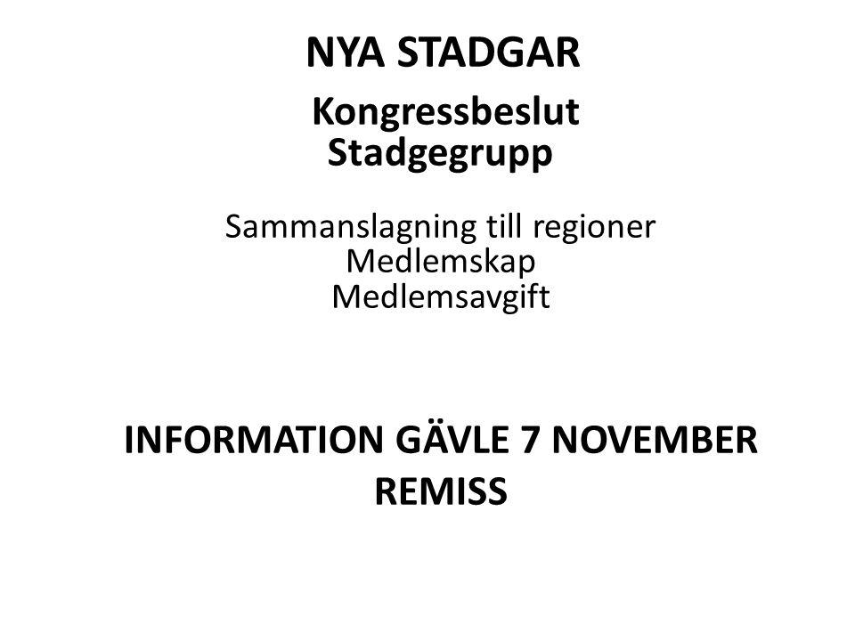 NYA STADGAR Kongressbeslut Stadgegrupp Sammanslagning till regioner Medlemskap Medlemsavgift INFORMATION GÄVLE 7 NOVEMBER REMISS