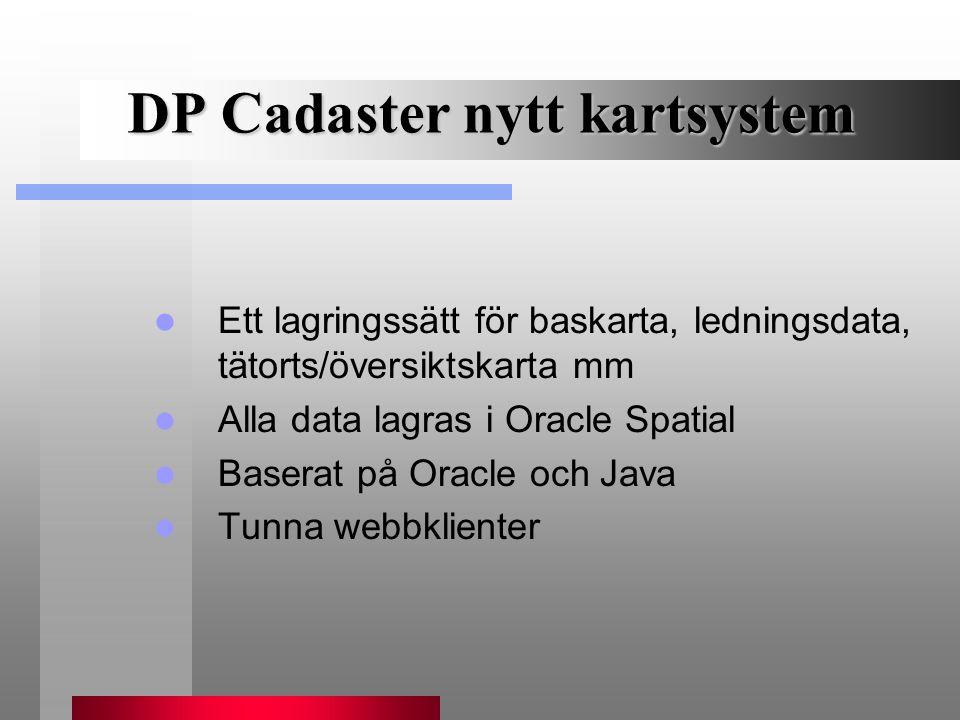 DP Cadaster nytt kartsystem Ett lagringssätt för baskarta, ledningsdata, tätorts/översiktskarta mm Alla data lagras i Oracle Spatial Baserat på Oracle