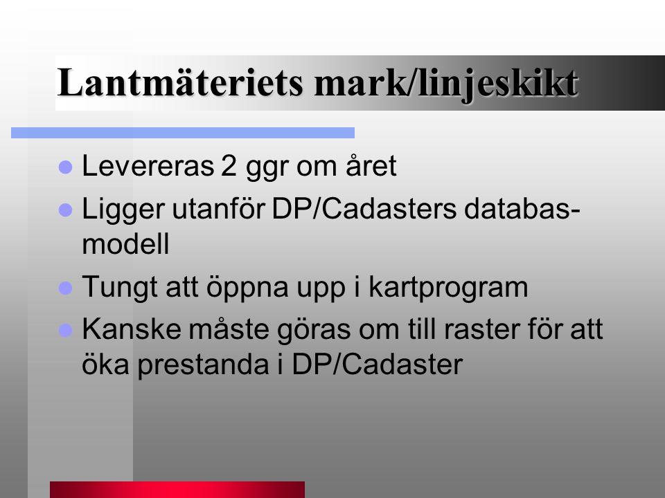 Lantmäteriets mark/linjeskikt Levereras 2 ggr om året Ligger utanför DP/Cadasters databas- modell Tungt att öppna upp i kartprogram Kanske måste göras
