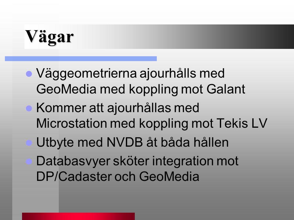 Vägar Väggeometrierna ajourhålls med GeoMedia med koppling mot Galant Kommer att ajourhållas med Microstation med koppling mot Tekis LV Utbyte med NVD