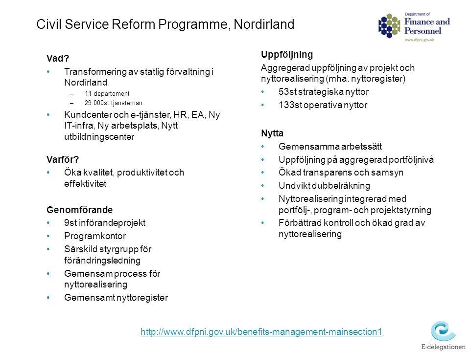 Civil Service Reform Programme, Nordirland Vad? Transformering av statlig förvaltning i Nordirland –11 departement –29 000st tjänstemän Kundcenter och