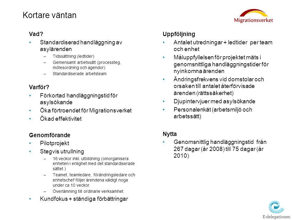Kortare väntan Vad? Standardiserad handläggning av asylärenden –Tidssättning (ledtider) –Gemensamt arbetssätt (processteg, mötesordning och agendor) –